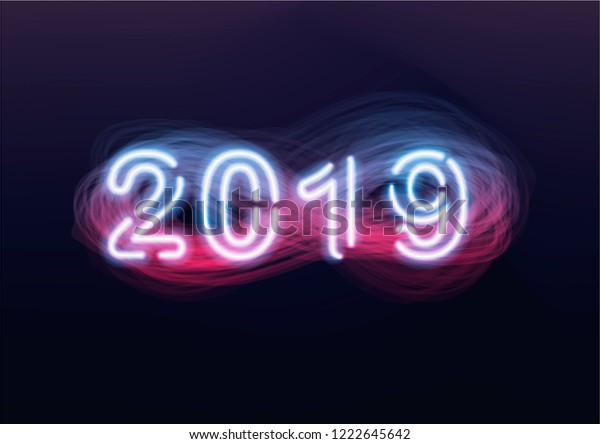 New Year 2019 Futuristic Background Glowing Stock Vector (Royalty