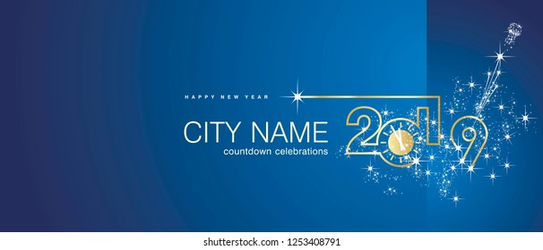 New Year 2019 gold clock firework midnight countdown celebrations blue background