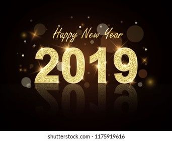 New Year 2019 gold label with gold glitter on a black background and load boards. Wishes card template vector illustration banner year.