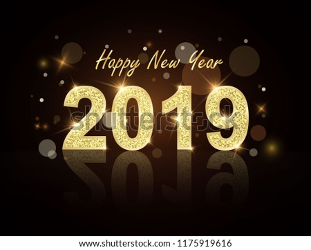 new year 2019 gold label with gold glitter on a black background and load boards