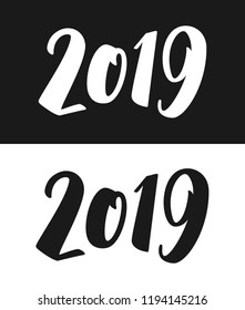 New Year 2019 greeting card template. Calligraphic number 2019 with smooth contour isolated on black and white backgrounds. Vector illustration.