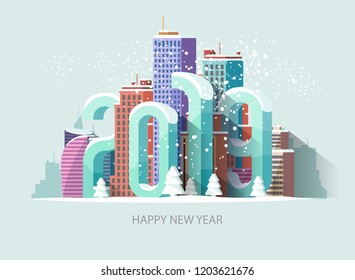 New year 2019. Greeting card.