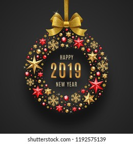 New year 2019 greeting illustration. Abstract holidays bauble made from stars, ruby gems golden snowflakes, beads and glitter gold bow ribbon.