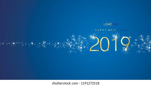 New Year 2019 greetings loading firework gold white blue color vector