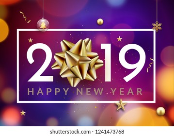 New year 2019 happy christmas card background. New Year celebration abstract typography with golden bow.