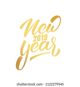 New Year 2019. Happy New Year 2019 hand lettering label. Hand drawn logo for New Year card, poster, design etc