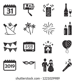 New Year 2019 Icons. Black Scribble Design. Vector Illustration.