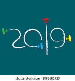 New Year 2019 illustration - planes left traces in the form of numbers. Airplane write digits in the sky. Flat vector clip art. Celebration logo.