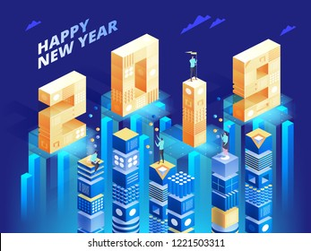 New Year 2019 in Isometric style. Vector isometric illustration of number 2019 in bright gradient with greeting inscription of Happy New Year. Holiday banner with technology elements