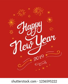 New year 2019 lettering designs. Vector white and yellow illustrations with stars and fireworks for posters banners or card on a red background. Calligraphic hand drawn font