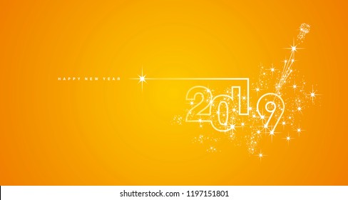 New Year 2019 line design firework champagne white orange yellow vector