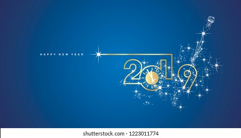 New Year 2019 line design gold clock sparkle firework champagne white blue vector