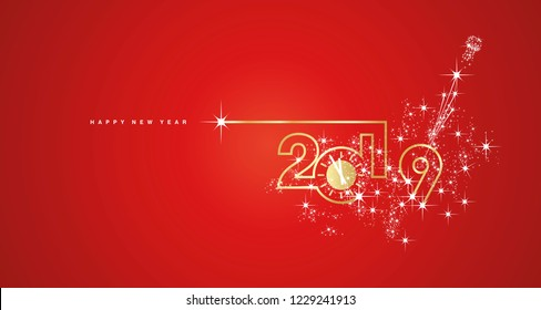 New Year 2019 line design gold clock sparkle firework champagne white red vector