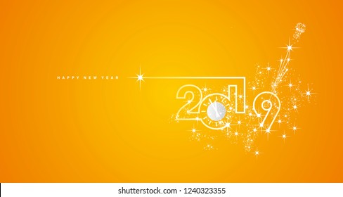 New Year 2019 line design silver clock sparkle firework champagne white yellow orange vector