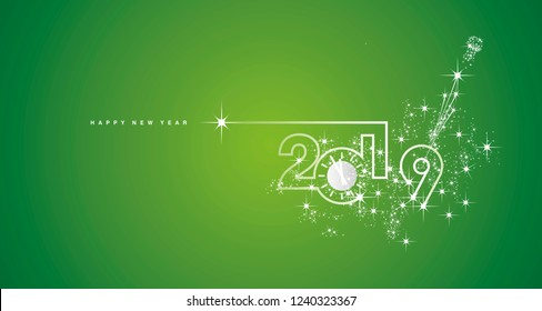 New Year 2019 line design silver clock sparkle firework champagne white green vector
