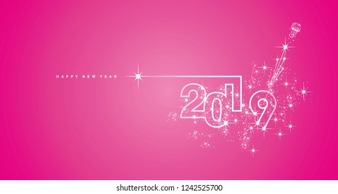 New Year 2019 line design firework champagne white pink vector
