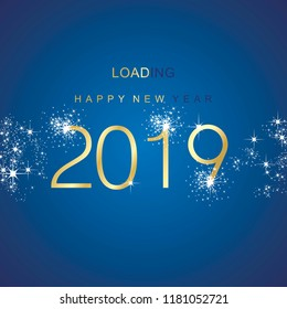 New Year 2019 loading spark firework gold blue vector