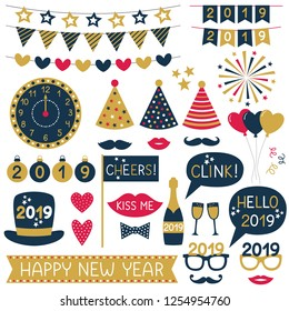 New Year 2019 party props and bunting, vector set