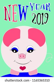 New Year 2019, the year of the pig 2019, greeting card. Vector illustration, eps 8