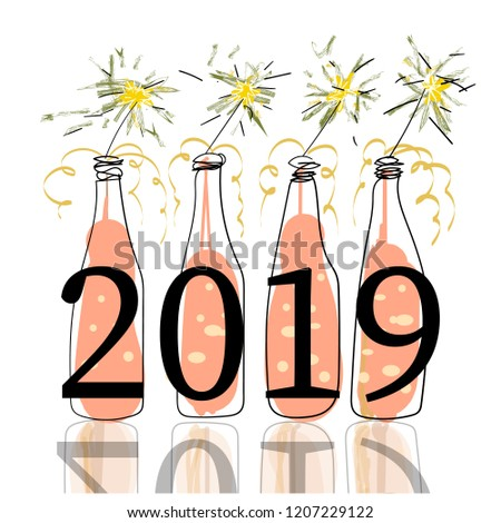 new year 2019 pink champagne bottles and sparklers