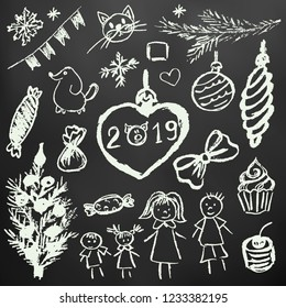 New Year 2019. New Year's set of elements for your creativity. Children's drawings with white chalk on a black background. Christmas tree, fur-tree toys, candy, gifts, children, 2019, family
