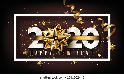 New Year 2020 Creative Typographical Background With Christmas Elements