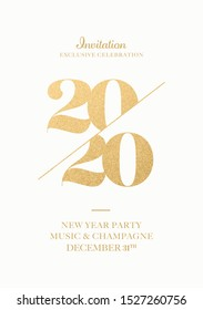New Year 2020 Event Invitation. Merry Christmas and Happy New Year Party Modern Greeting Card. NY Celebration Party Elegance Invitation Printable Design Template. White Color with Gold Foil.