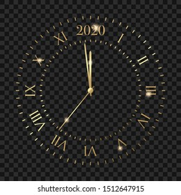 New Year 2020 golden clock. Clock with 2020 countdown midnight