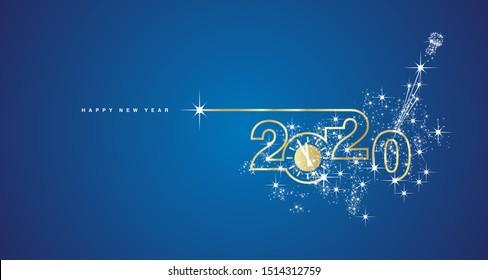 New Year 2020 line design gold clock sparkle firework champagne white blue vector