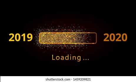 New year 2020 loading progress bar with golden confetti isolated on black background. Holiday banner, poster, greeting card or invitation template. Copy space.