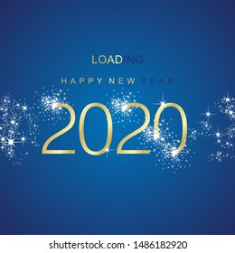 New Year 2020 loading sparkle firework gold blue vector