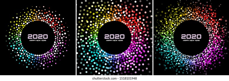 New Year 2020 night background party set. Greeting cards. Rainbow glitter paper confetti. Glistening festive rainbow lights. Glowing circle frame happy new year wishes. Christmas collection. Vector