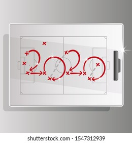 New Year 2020 Soccer strategy for goal red arrows white board background