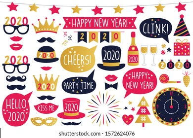 New Year 2020 vector party signs and photo booth props collection, isolated on white