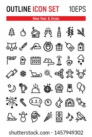New Year 2020 and Xmas outline icon set 10EPS. Winter holydays vector symbols. Christmas party symbols.