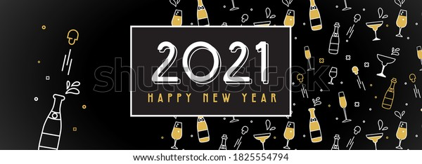 New Year 2021 banner. Pattern with champagne,glasses and extracted cork. Glittery shining golden objects on black for holiday designs