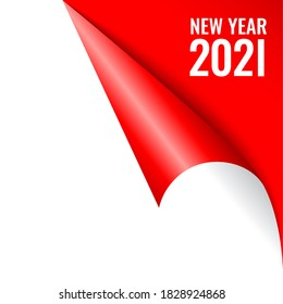 New year 2021 calendar page corner, vector illustration