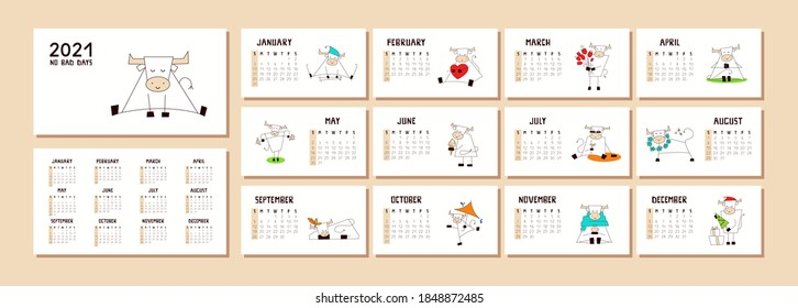 New Year 2021. Calendar or planner with a cute kawaii ox, bull, cow isolated on white. Desk, table, wall calendar. Cover and 12 monthly pages with positive vector illustrations. Week starts on Sunday.