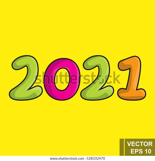 New Year 2021 Cartoon Figures Isolated Stock Vector (Royalty Free