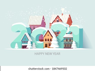 New year 2021. Cityscape with big numbers. Greeting card design
