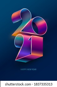 New year 2021. Colorful lettering design.