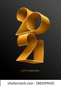 New year 2021. Golden lettering design.