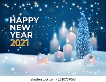 New Year 2021 holiday card. Magical winter night landscape. Winter holiday scene with Christmas tree, Christmas balls and burning candles