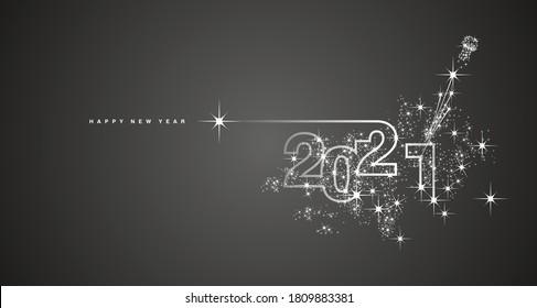 Feu d'artifice de la ligne de Nouvel An 2021 champagne image vectorielle noir blanc