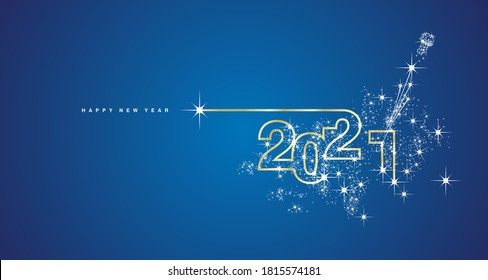 New Year 2021 line design firework champagne gold shining white blue vector