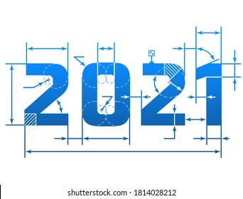 New Year 2021 number with dimension lines. Element of blueprint drawing in shape of 2021 year
