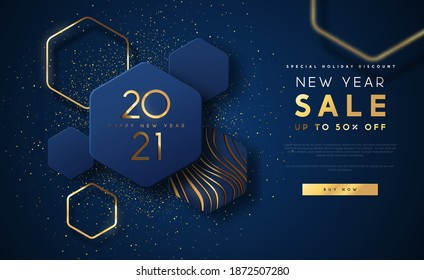 New Year 2021 sale discount web template illustration, luxury 3d geometric shape background with gold abstract shapes on blue backdrop for holiday business promotion.