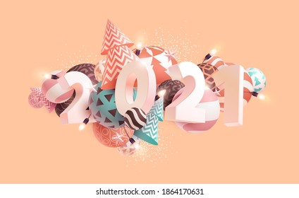 New year 2021.Numbers on abstract geometric background.  3D greeting card design.