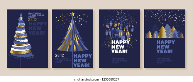 New Year and abstract Christmas tree posters collection. Gold and blue xmas minimal illustration for winter design projects, office party invitation, postcards.