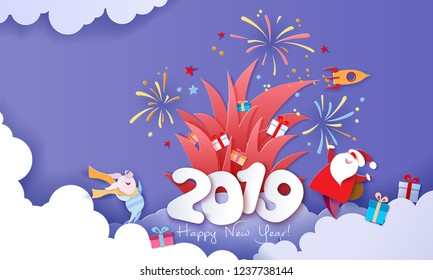 New year advertising design. Santa Claus with gift box and fireworks over big letters 2019 on blue background. Vector paper cut art illustration for promotion banners, headers, posters, stickers